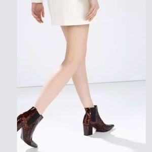 ZARA SHINY PRINT HIGH-HEELED BOOTIES Ankle Boots